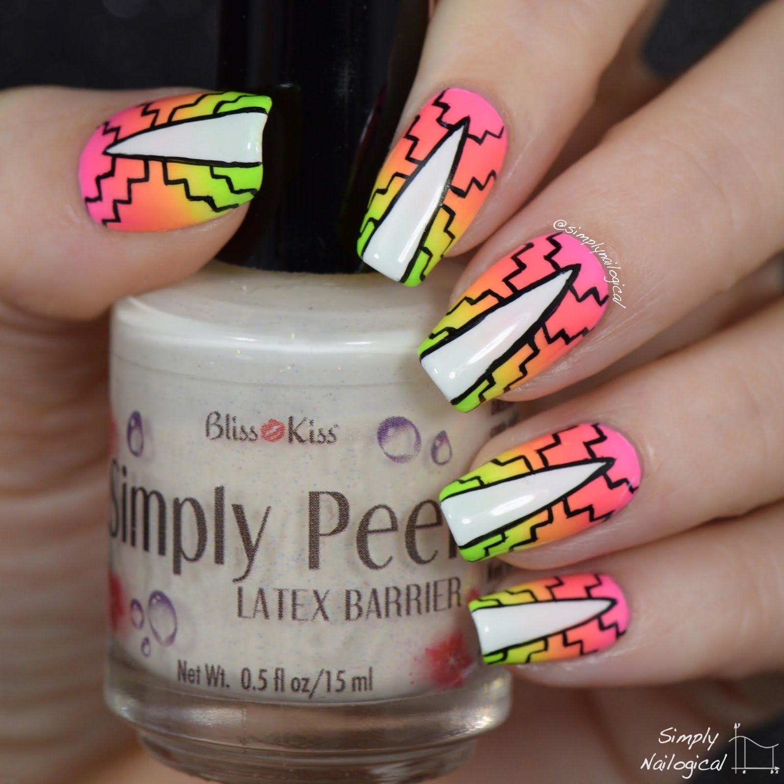 Simply Nailogical Nail Art: Simply Nailogical: Neon Gradient Pattern Nails For Summah