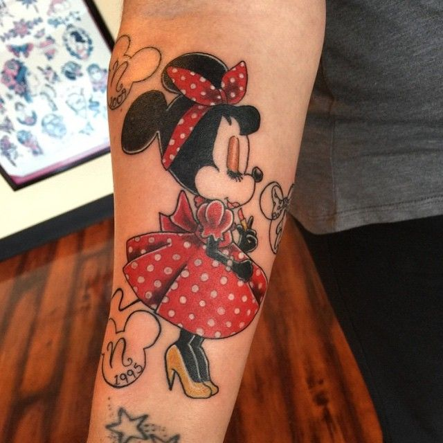 little miss pin up minnie mouse done by joy brock tattooer at upperroomtattoocompany. Black Bedroom Furniture Sets. Home Design Ideas