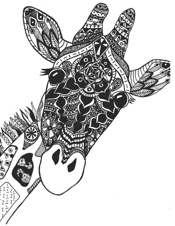 Zentangle giraffe print by stephschaeferart on etsy art for Giraffe mandala coloring pages