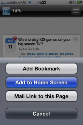 Directions for making a link a bookmark on an iPhone or