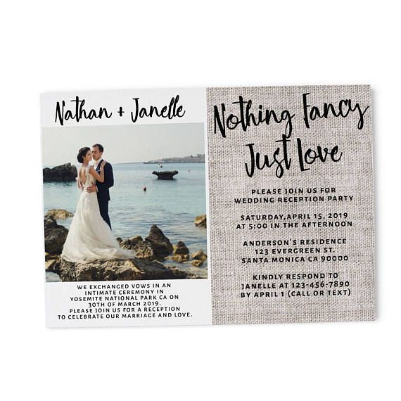 nothing fancy just love elopement announcement card and reception