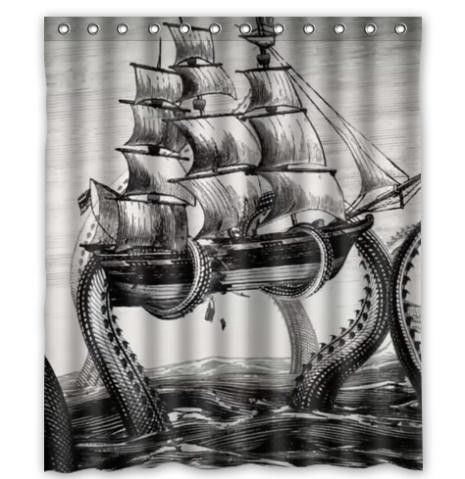 Custom Home Decor Cool Kraken Octopus Cartoon Moden Shower Curtain Bathroom Waterproof 66x72 Free Shipping 3999