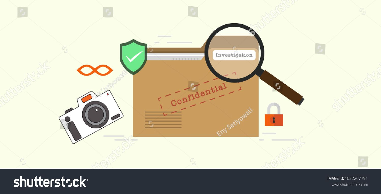 Investigations Confidential Data Concept On File Folder Label With Magnify Glasses Lock Camera And Private Data File Folder Labels Folder Labels Data Icon