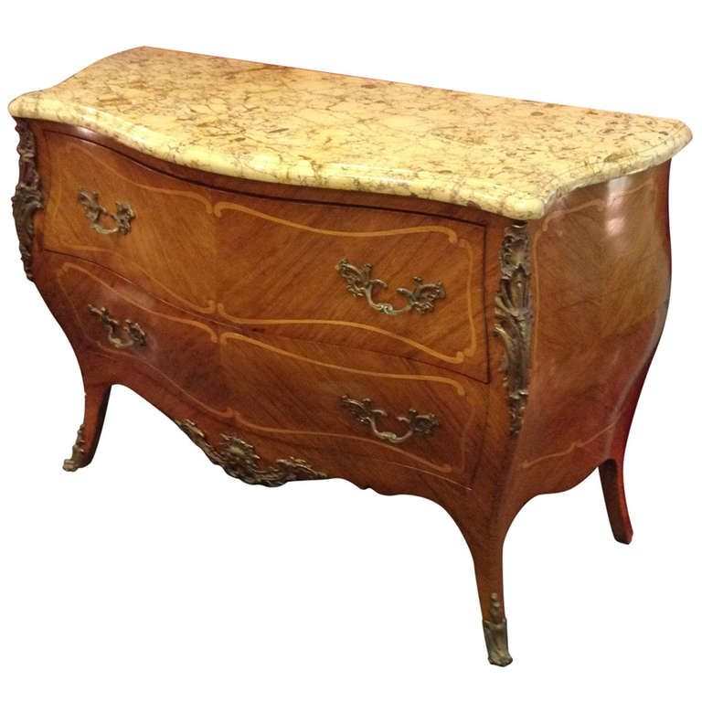 French Louis XVI Two Drawer Serpentine Front Bombe Chest Muebles
