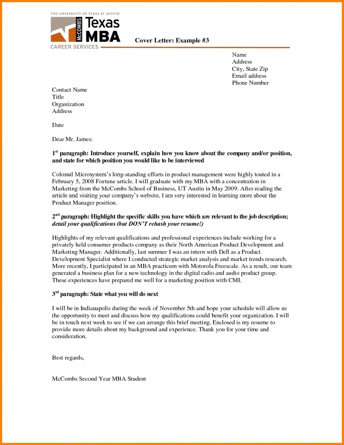3 Paragraph Cover Letter Template Cover Letter Template