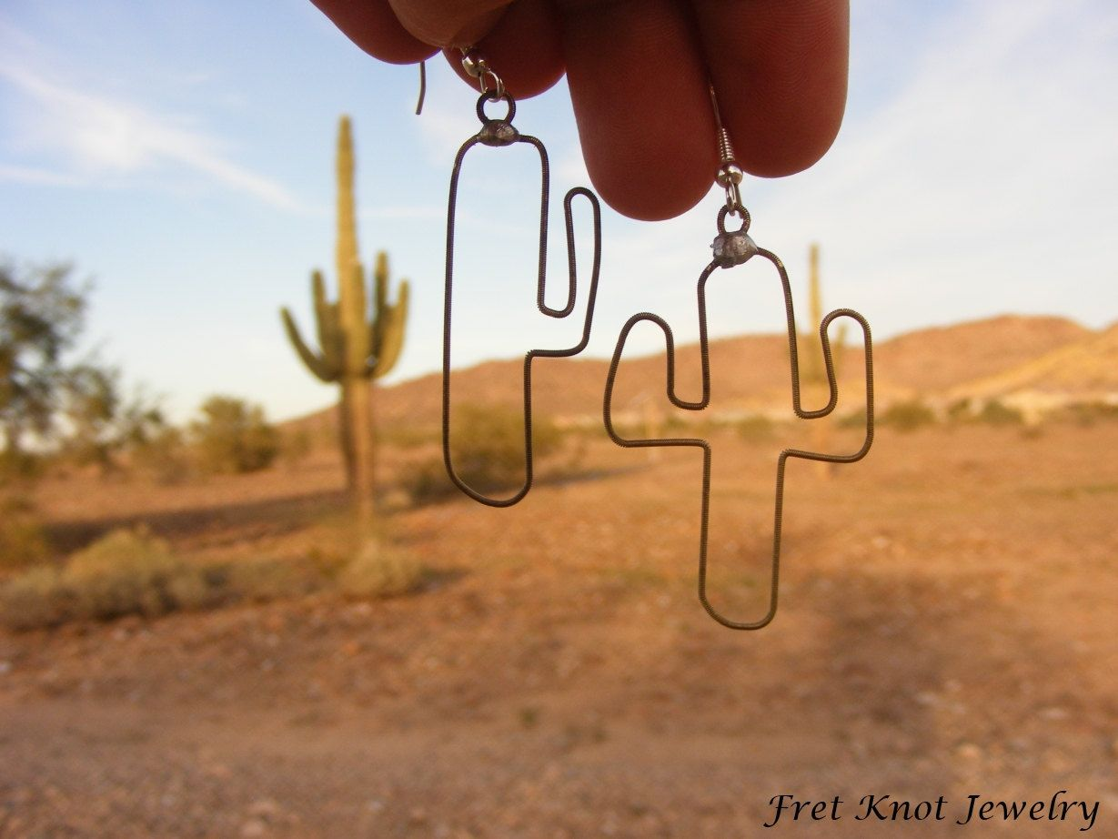 Recycled guitar string jewelry - Guitar String Jewelry Fretknotjewelry On Etsy Saguaro Cactus Earrings Made Of Recycled Guitar Strings