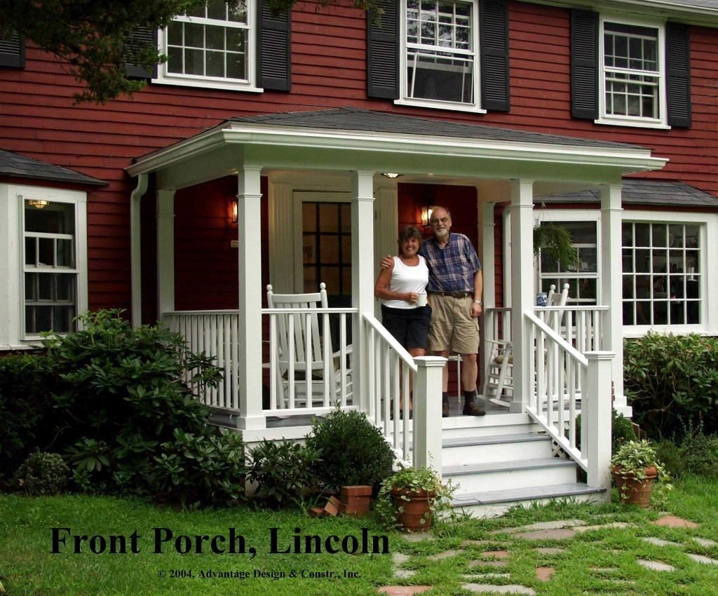 Here\'s a traditional porch on the front of a classic New England ...