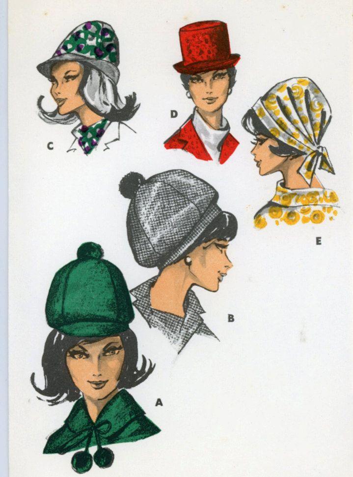 Burda 6 8002 Misses 1950s German Language Hat Pattern Top Hat Bouffant Scaf Hat Brimmed Floppy Touring Vintage Sewing Patterns Hat Pattern Burda Style Patterns