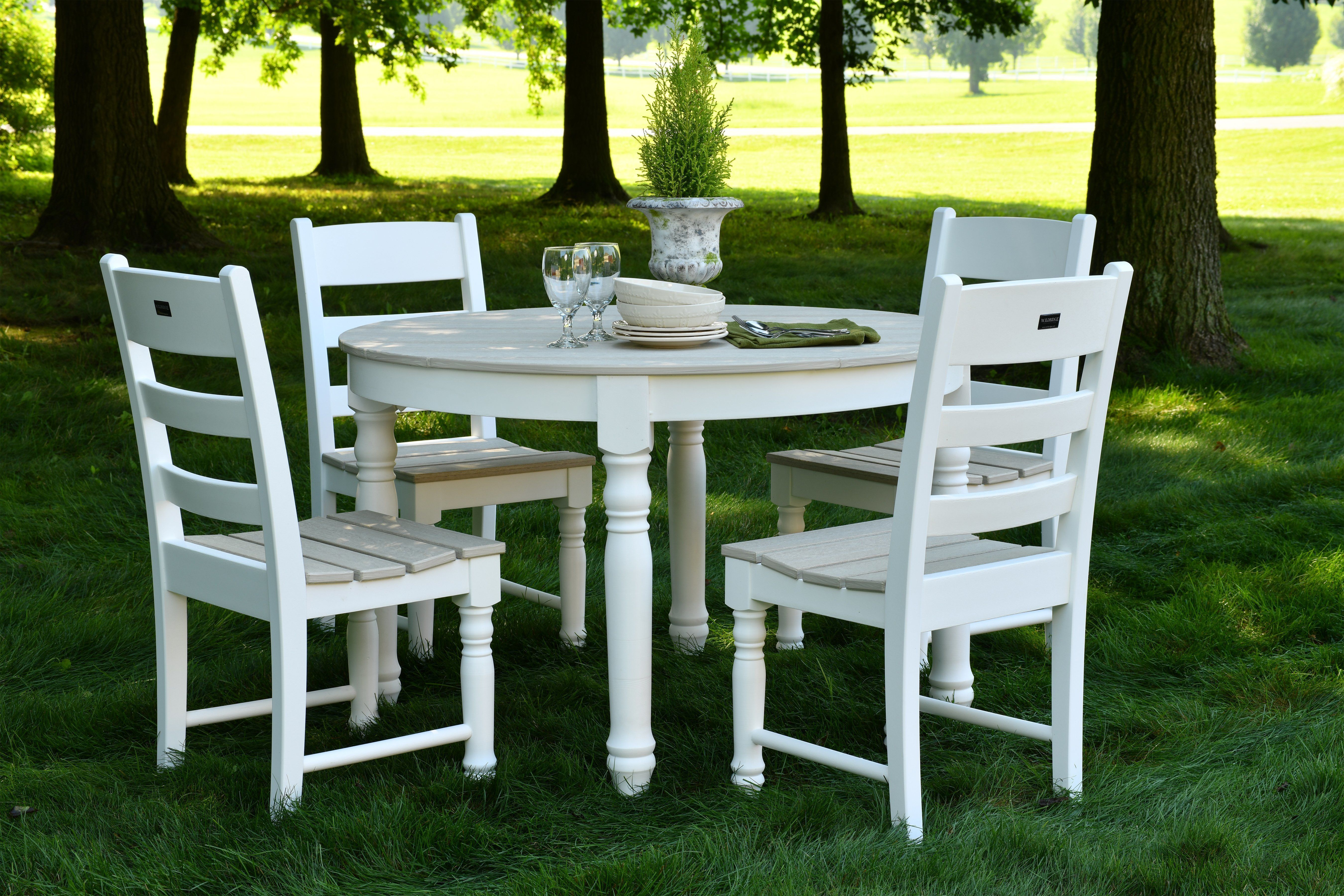 Eco poly farm house 48 round dining table with 4 dining