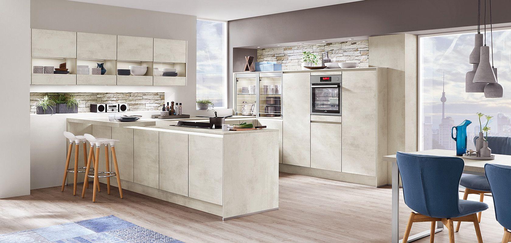 Riva 891 White Concrete Reproduction Designer Kitchens Line N Handleless Nobilia Kuchen Interior Room Decoration Kitchen Design Nobilia Kitchen