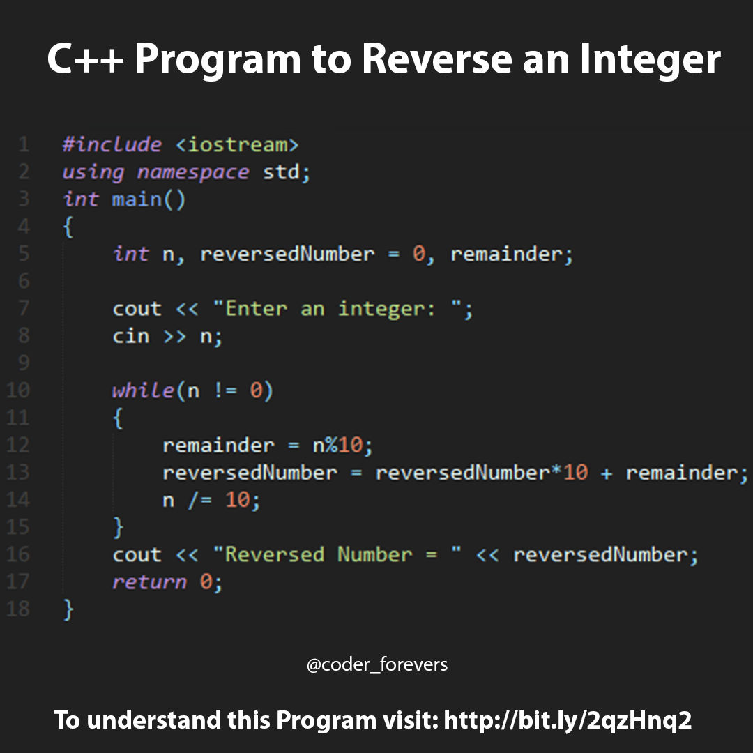 C++ program to reverse integer or Number | C++ Programming