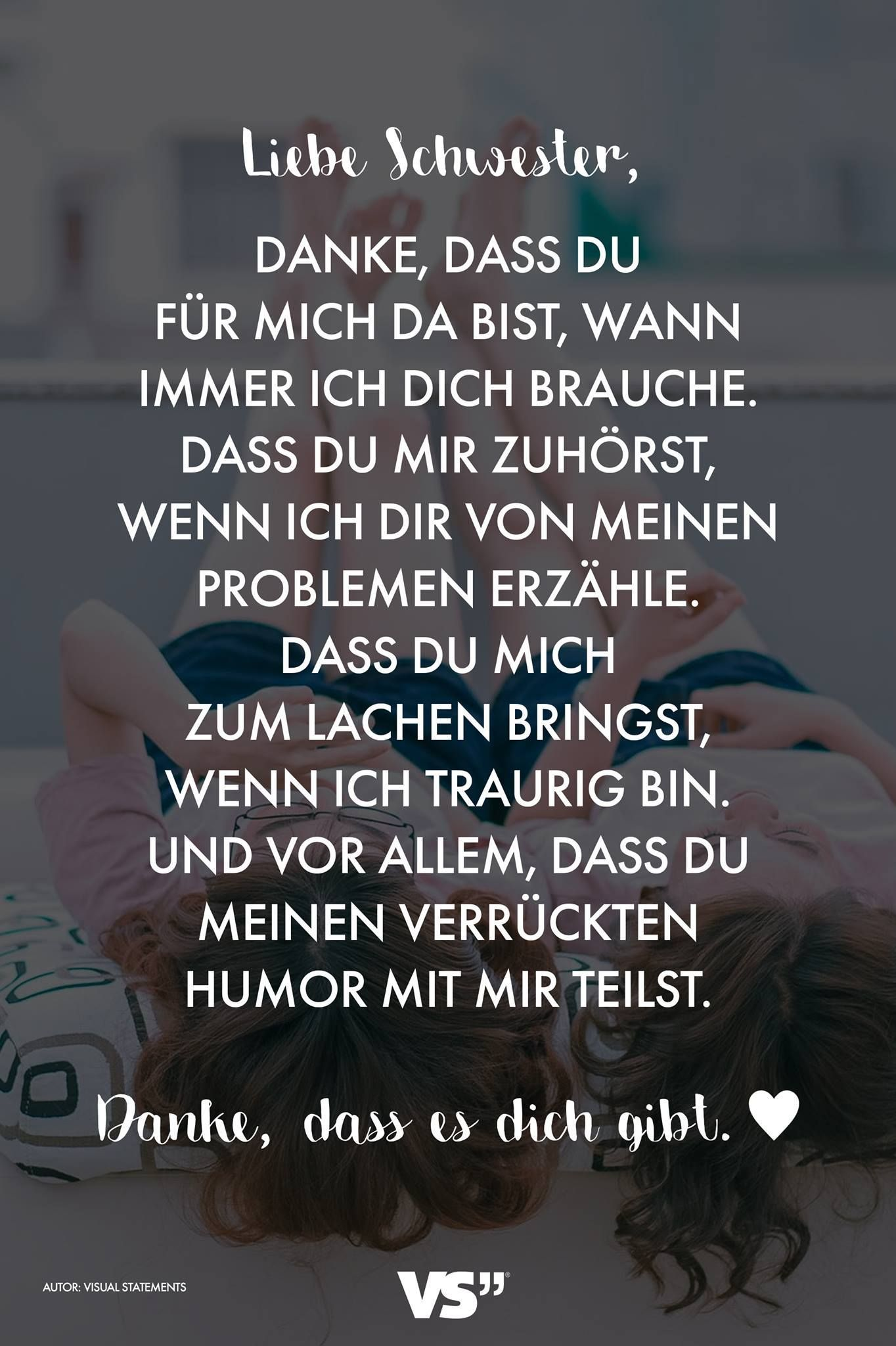 Visual Statements Liebe Schwester Spruche Zitate Quotes