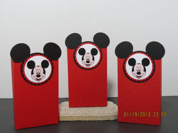 Bought Red Bags With Handles Thought I D Do Something Similar To These Mickey Mouse Favor