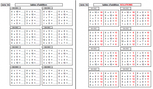 Les tables d addition g n rateurs d 39 exercices - Table d addition a completer ...