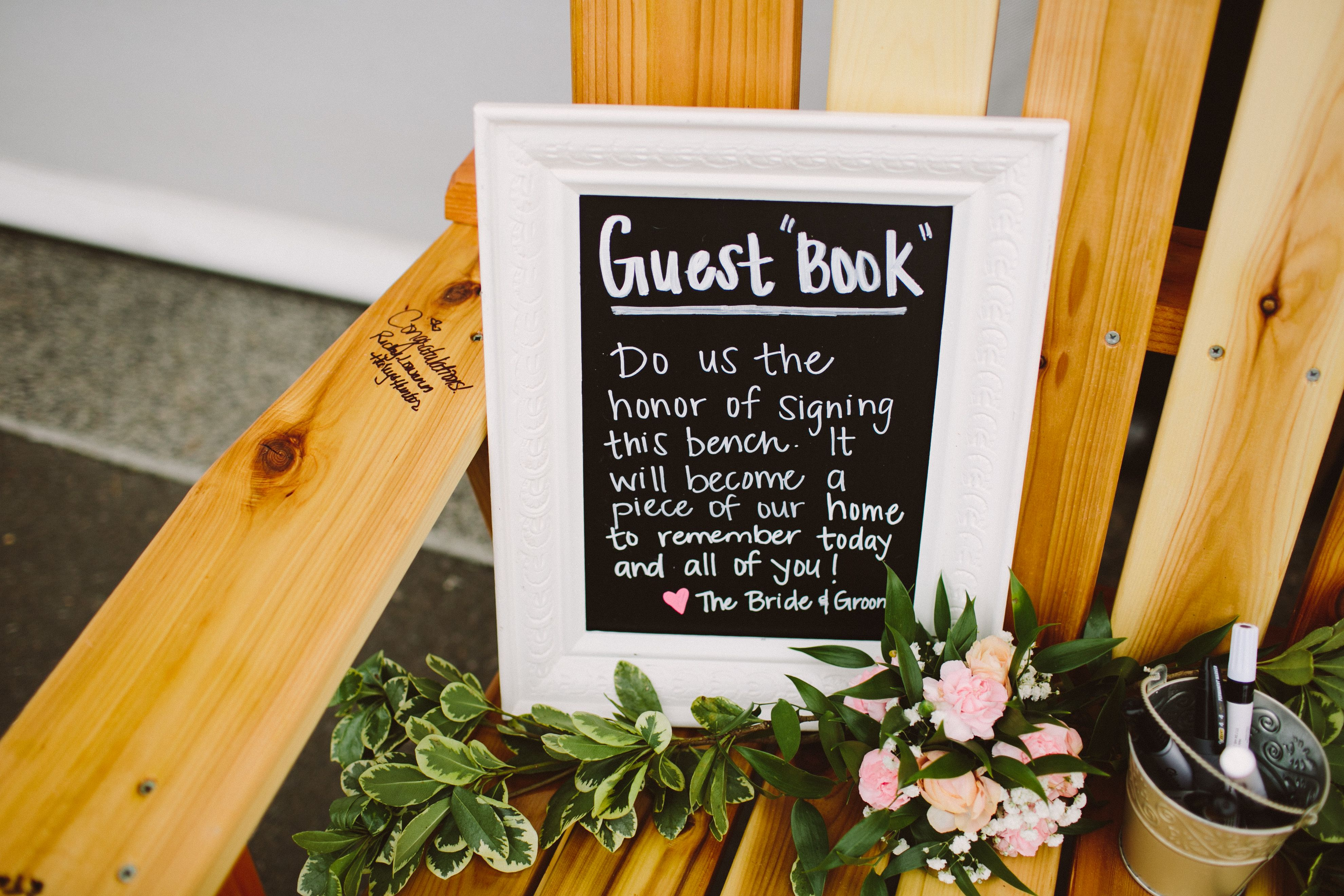 We opted for a guest book bench rather than a book we'd just stick in a box in storage :) © Tonhya Kae Photography