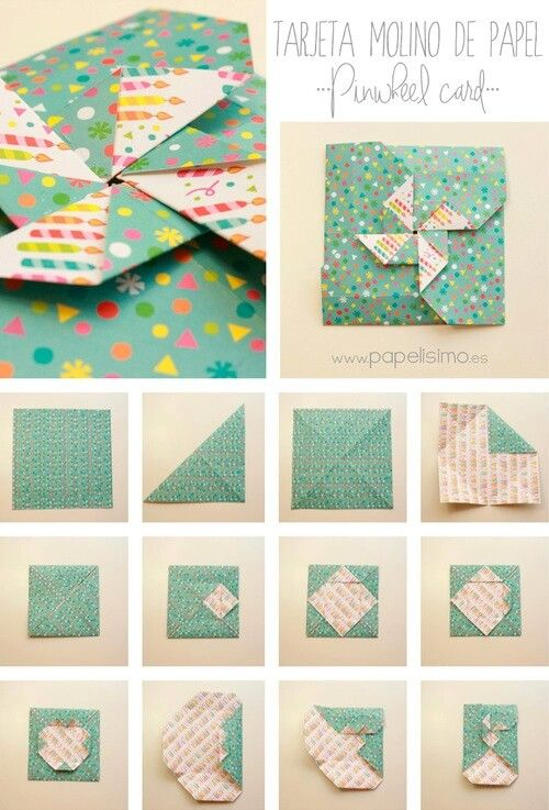 folding diagram for a card/envelope combo ... pinwheel on ... on