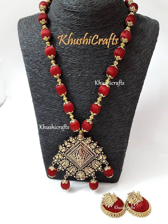 Maroon shaded Silk thread Jewelry with designer Lakshmi