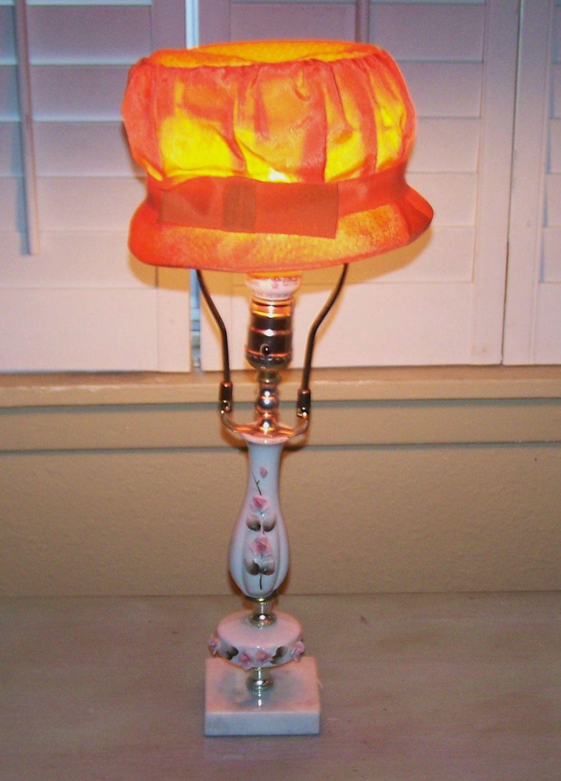 Italian Lamp With Vintage Hat Lampshade J Dooley Lamp Novelty Lamp Lamp Shades