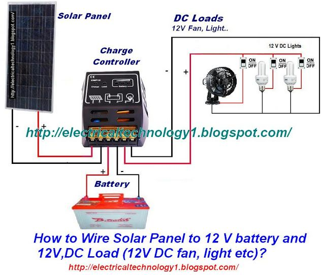 how to wire solar panel to 12v battery and 12v dc load travel rh pinterest com Solar Battery Wiring Diagrams Solar Wiring Diagrams for Homes