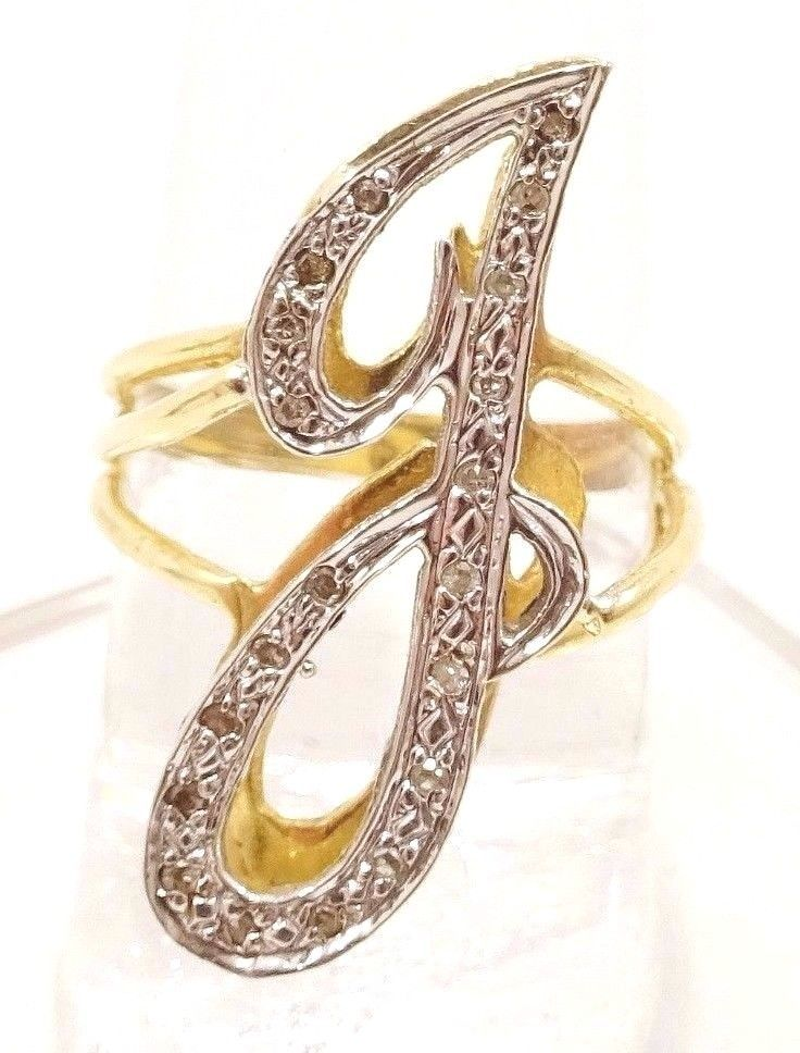 10k Solid Gold Diamond J Ring Initial Letter Sparkles Can Be Sized