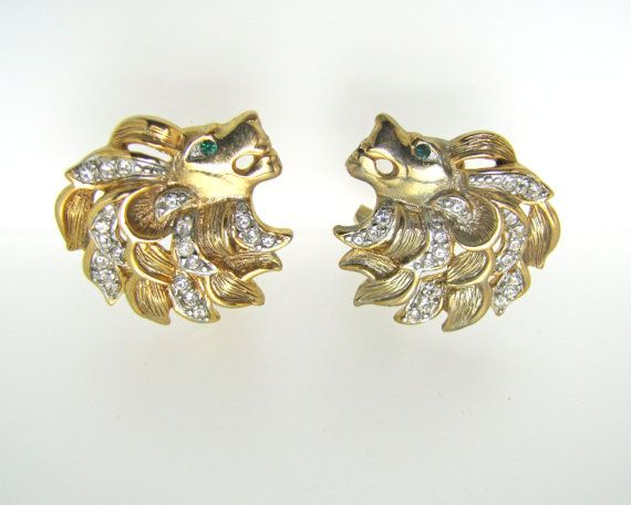 Signed CRAFT Figural Lion Head Earrings By Coro by MercyMadge, $48.00