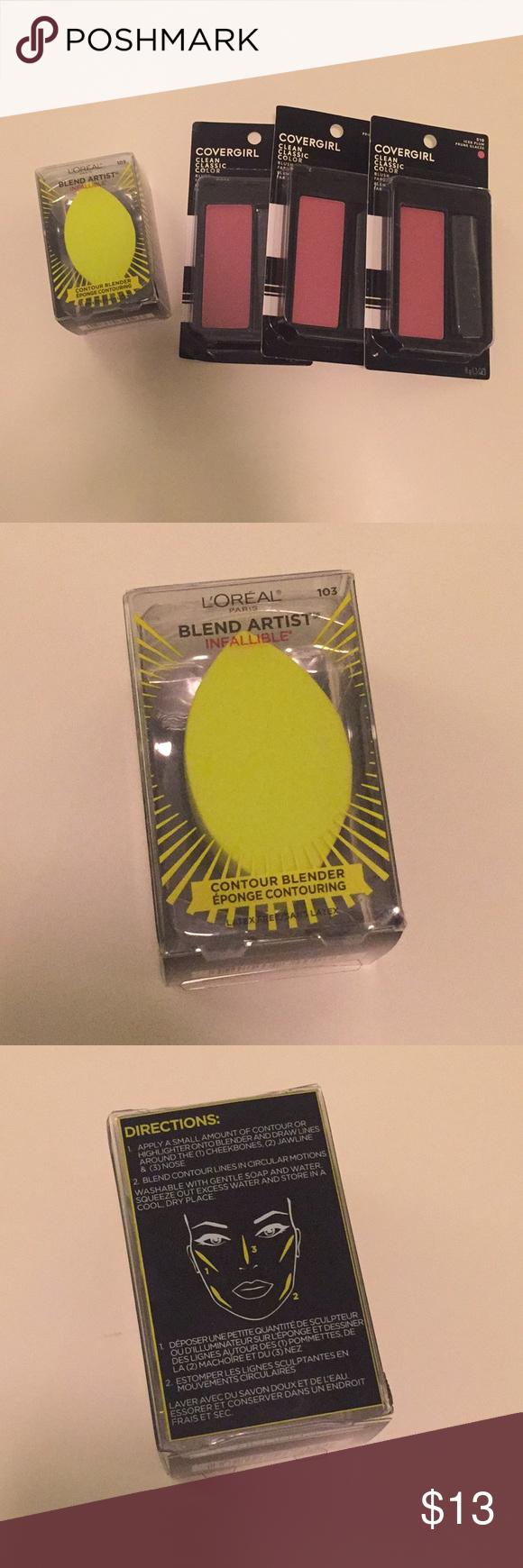 L'Oreal Blender Covergirl Classic Iced Plum Blush Bundle