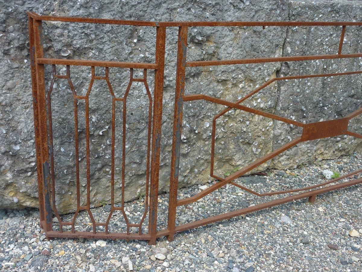 Balcon garde corps ancien en fer forge art deco xxe s pf 761 fer forg art deco for Portail fer forge art deco