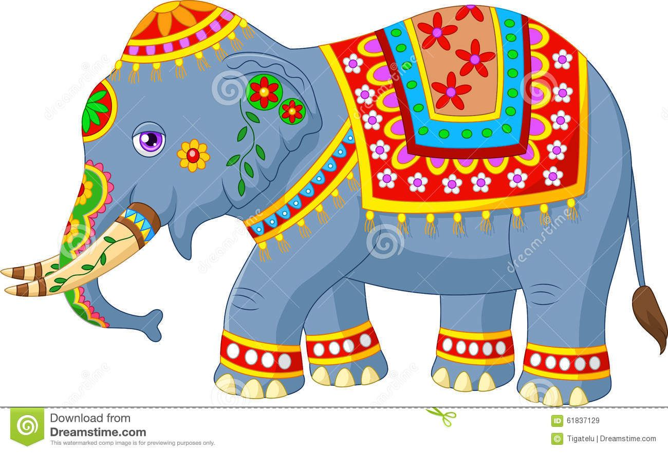 Cartoon Elephant Indian Classic Traditional Costume Illustration
