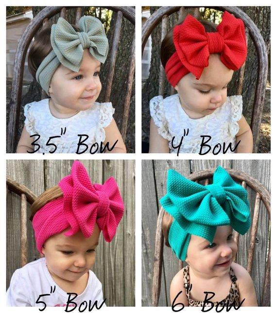 Fashion Children Baby Girl Metallic Big Bow Girls Headband kids Wrap Hairband