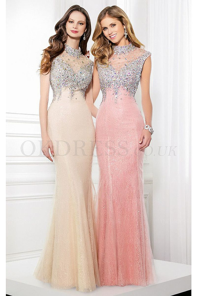 Glitter Sequins High Neck Floor Length Mermaid Prom Dresses 2016 ...