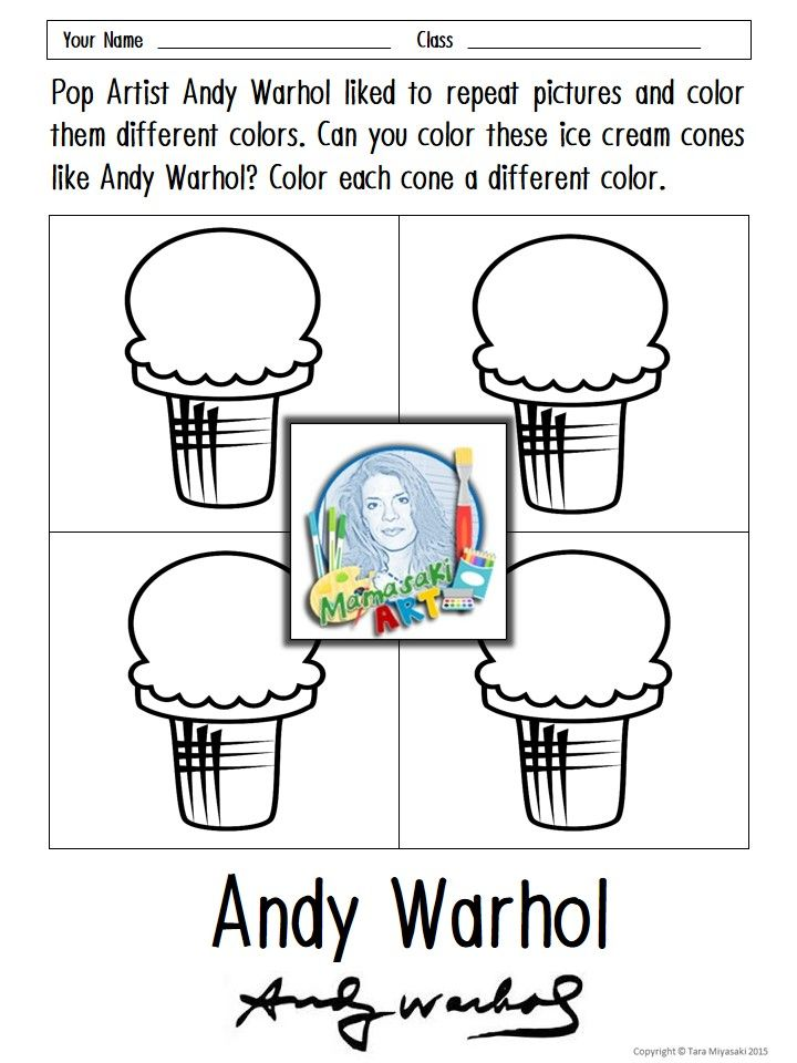 Andy Warhol Coloring Sheets in