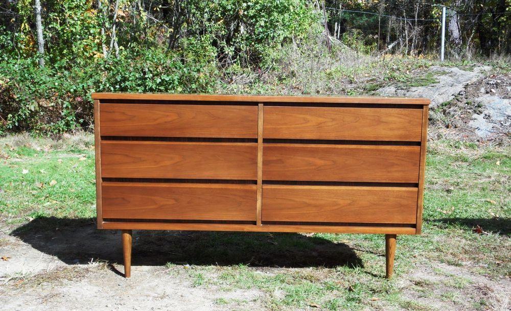 Vintage Bassett Furniture Mid Century Modern Six Drawer Dresser