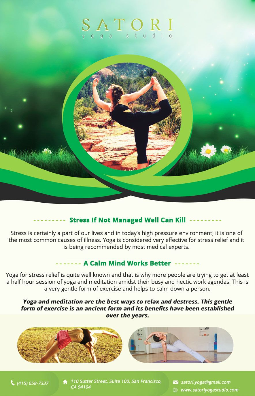 Stress If Not Managed Well Can Kill Yoga flyer, Free psd