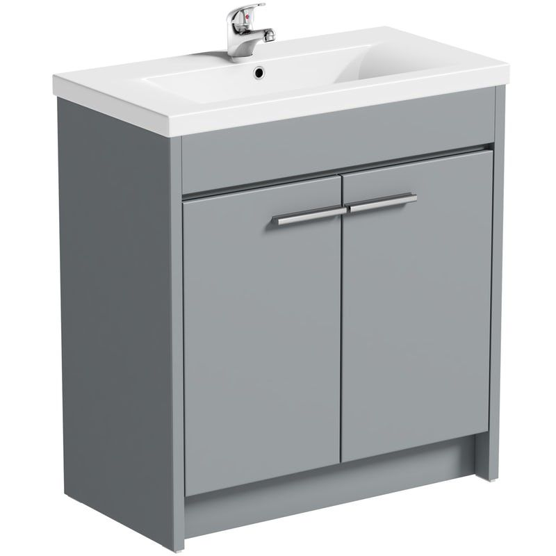 Clarity Satin Grey Floorstanding Vanity Unit And Ceramic Basin