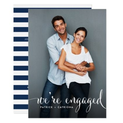 Navy Stripes Photo Engagement Party Invitation - script gifts - engagement party templates