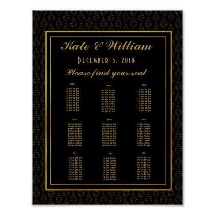 Elegant art deco Table plan partywedding Poster spring wedding
