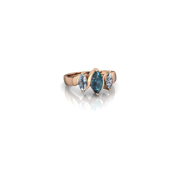 Lab Alexandrite and Aquamarine Three Peeks Ring ❤ liked on Polyvore featuring jewelry, rings, aquamarine jewellery, 14k ring, 14k jewelry, aquamarine jewelry and 14 karat gold ring