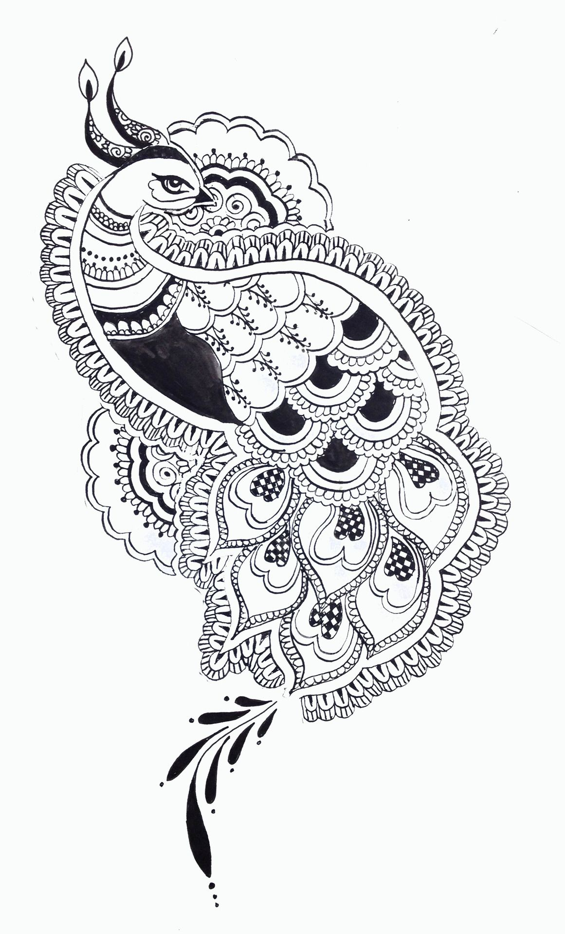 1cea89b45 [Tattoo design commission, inspired by traditional henna patterns. Images  For > Peacock Drawings Tumblr