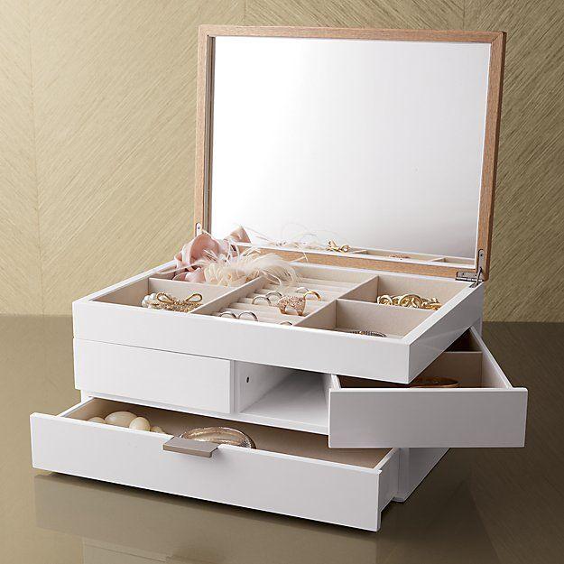 Shop Selma White Jewelry Box Contemporary jewelry box unfolds to a