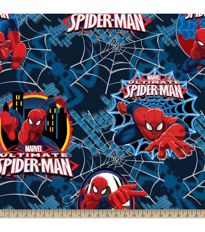 Marvel Comics Ultimate Spiderman Badge Fleece Fabric Ultimate