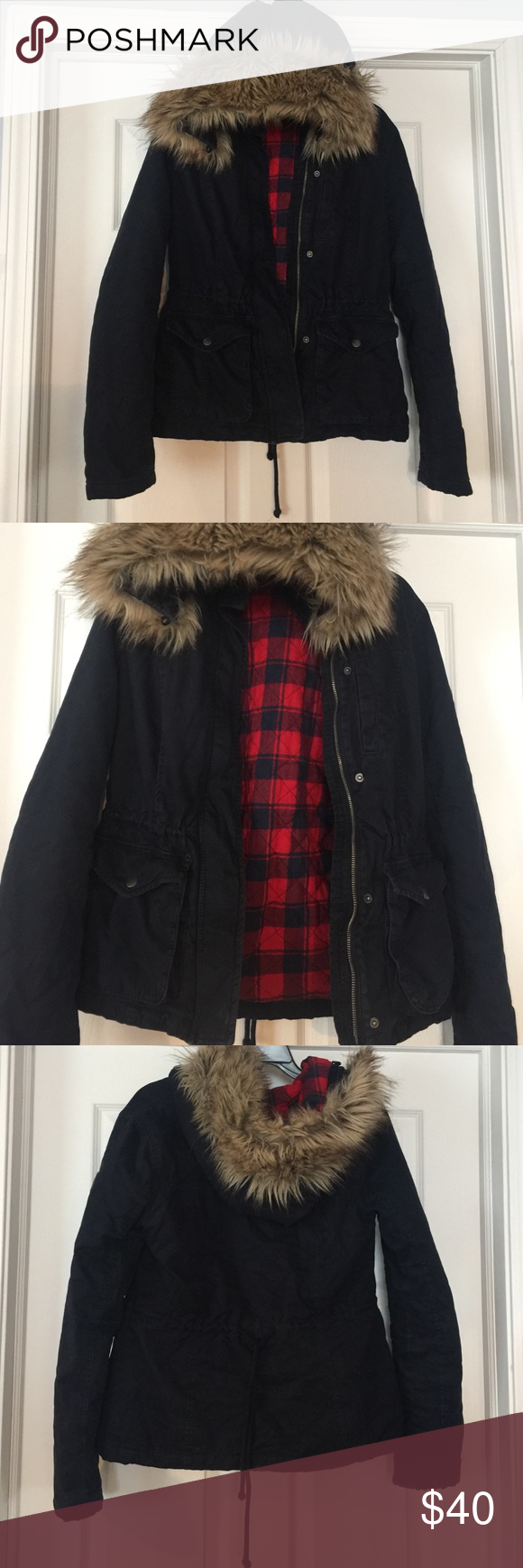 Flannel jacket with fur inside  Hollister cotton parka  Hollister jackets Plaid flannel and Hoods
