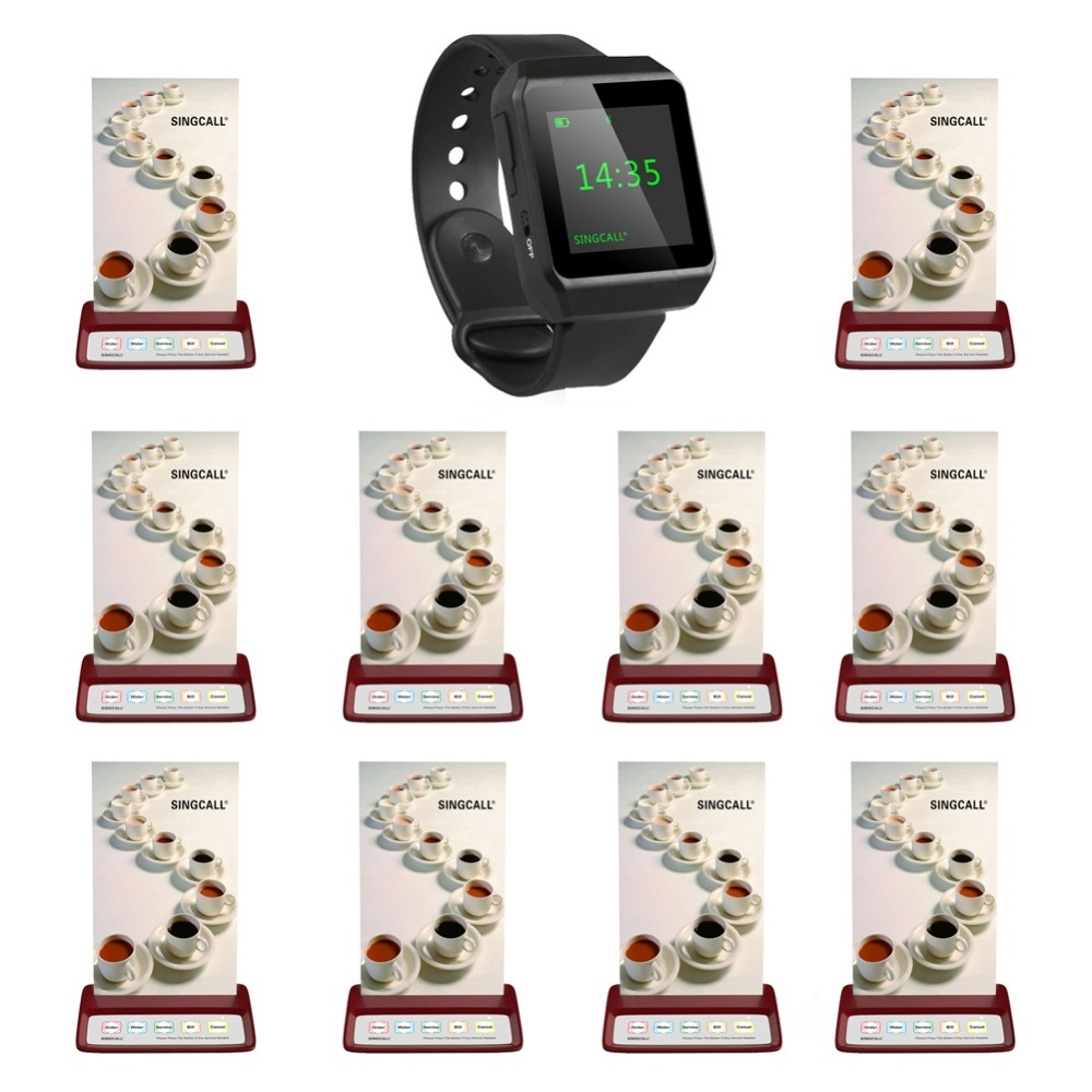 194.00$  Buy here - http://aliac1.shopchina.info/go.php?t=32749064111 - SINGCALL wireless restaurant calling system, beeper pager,1 mobile watch receiver plus 10 red table pagers  #magazineonlinebeautiful
