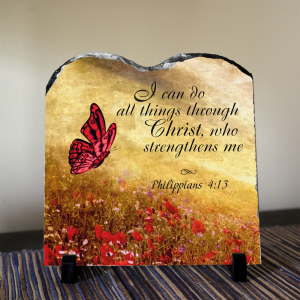 I can do all things through Christ, who strengthens me Philippians 4:13 Christian decor. SOLID NATURAL HIGH QUALITY STONE A modern alternative to the classic decorative tiles and plates, these heavy-weight stone panels show off the picture in high-def. Dyes are directly infused into the stone, giving the images brightness and definition like you've never seen it before. This design won't fade over time or chip off so you can be sure this stone plaque will look great for a very long…