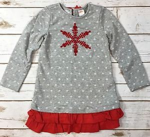 1434700dbdf Gymboree Holiday Shop Girls 4T Gray Red Snowflake Sweatshirt Dress Christmas