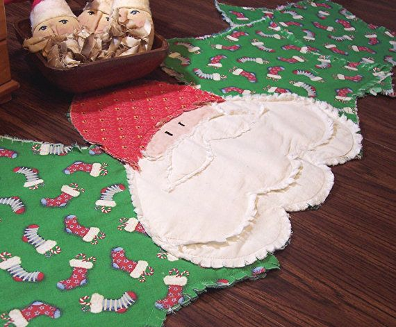 Christmas Table Runner Primitive Santa Claus- Rag Quilt Runner