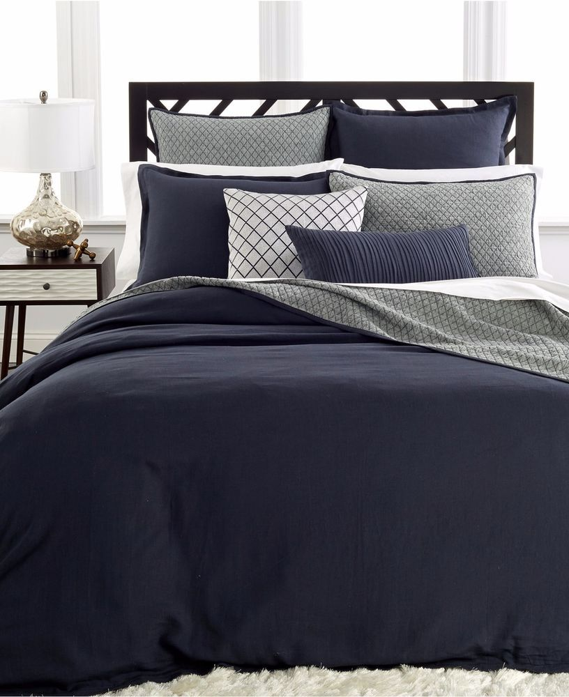 New Hotel Collection Linen Navy Quilted Euro Sham 110