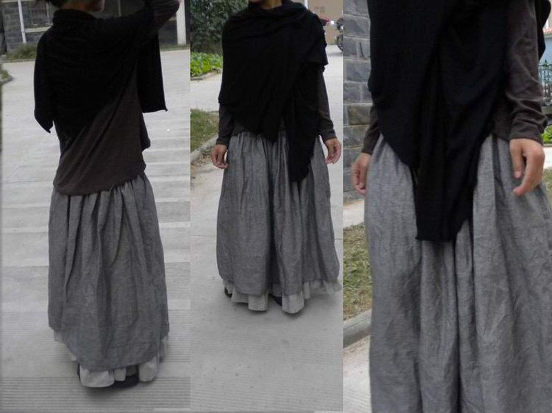 030---Colorblock Double Layer Linen Maxi Skirt, Two Tone Gray Winter Skirt, Layering Skirt, Fall Skirt, Plus Size Skirt, Made to Order. by EDOA on Etsy https://www.etsy.com/listing/196322973/030-colorblock-double-layer-linen-maxi