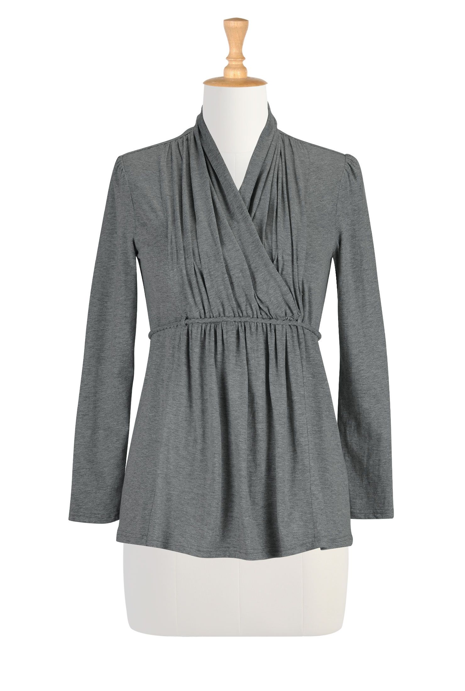 Cord tied melange knit tunic | Embellished top, Tunics and Clothes