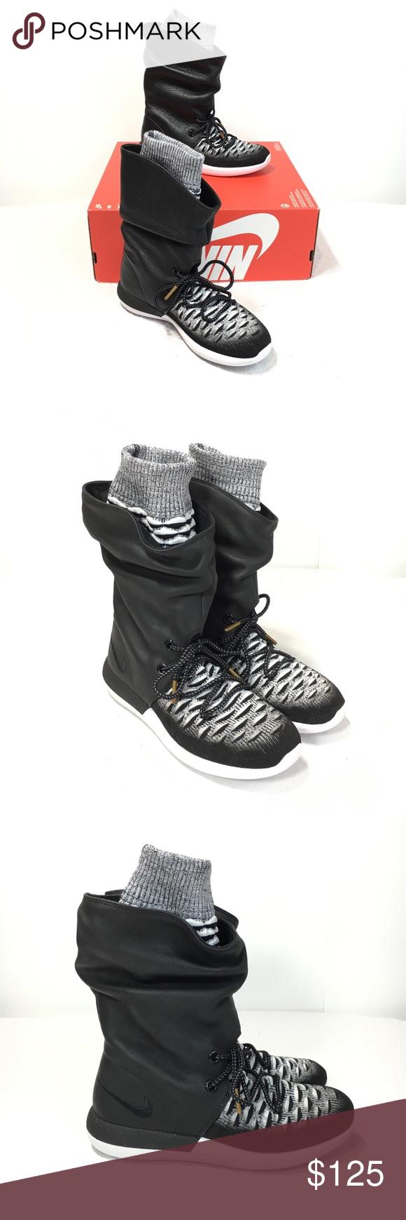 """best sneakers 0b12b a8eeb Nike W Roshe Two Hi Flyknit Womens 6 Hi Top Shoes Nike W Roshe Two Hi  Flyknit Women s 6 Black White Leather Hi Top Sneaker Boots 10"""" Tall."""