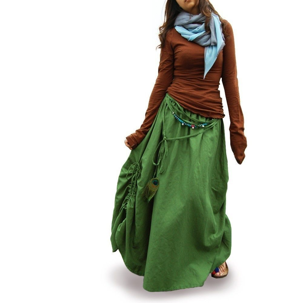 Peacock maxi skirt q by idealifestyle on etsy